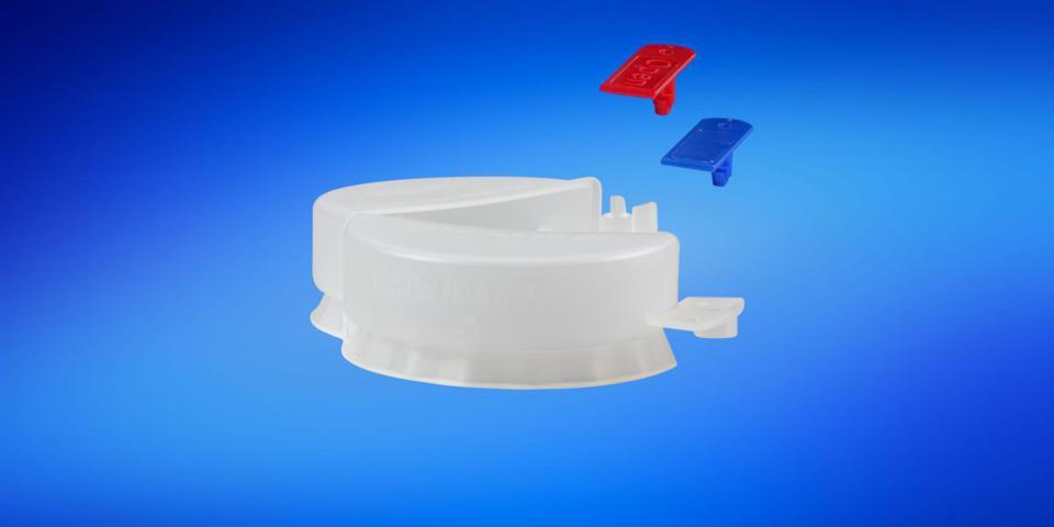 folding tamper proof cap for Rikutec and Entegris container