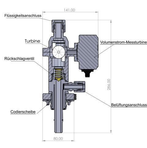 Diagramm mit Abmessung (cm) Gewicht: ~500 (PE)