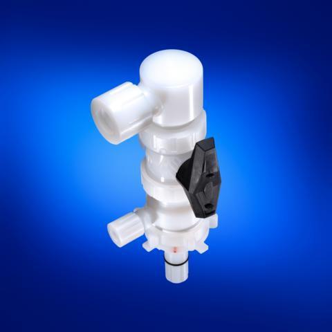 G-Series Dispense Head with ball valve PVDF