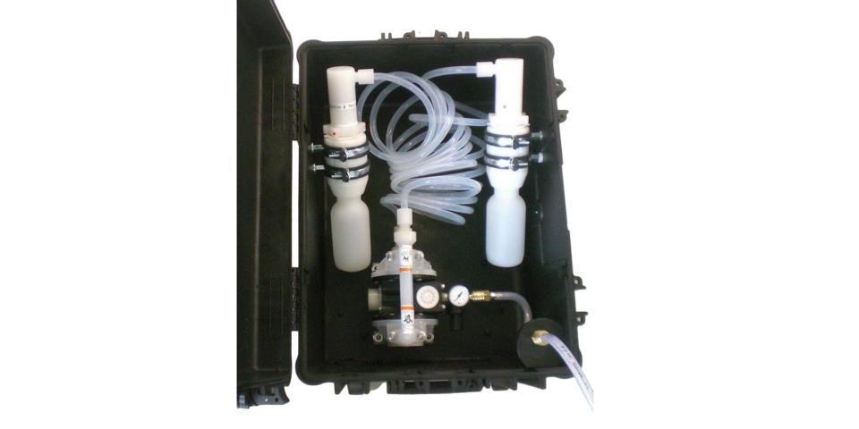 Transfer filling station in a case