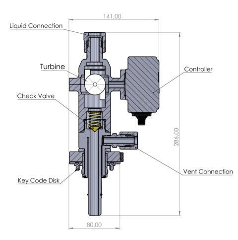 Graphic of a QC2 Dispense Head Incorporated with Turbine Flow Meter