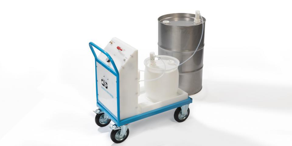 Supply trolley with drum